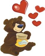 red hearts above cartoon bear with jar of honey