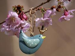 Cherry Blossoms and blue wood bird