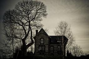 mansion in dramatic evening