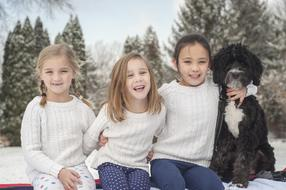 Sisters and Dog Snow