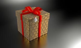 present gift box 3d drawing