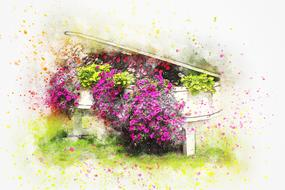 watercolor painted colorful flowers in the piano