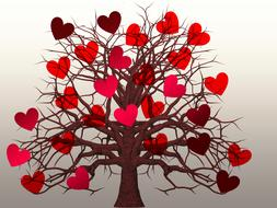 painted tree with red hearts instead of leaves