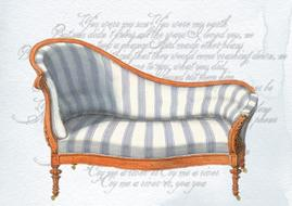 vintage french chaise lounge at handwriting, drawing