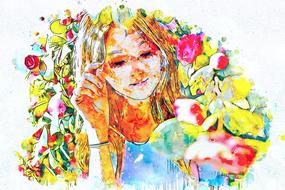 watercolor painted girl in a blooming garden