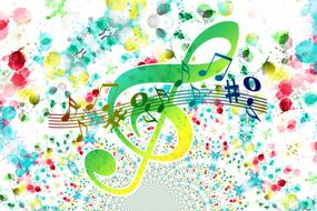 music clef, notes and colorful spots, background
