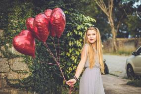 Girl Heart balloons Happy