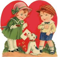 drawn love boy and girl and dog with a letter