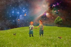 painted joyful children on a green meadow against the background of the starry sky