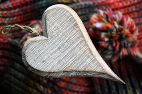 vintage wooden heart with hook