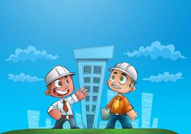 engineering, two cartoon men in safety helmets at buildings