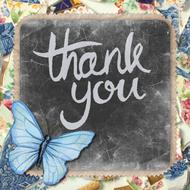thank you greeting card butterfly blue