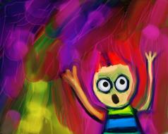 child screaming, colorful drawing