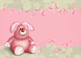 christmas happy card kids pink bunny drawing