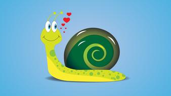 cartoon snail dreaming about love