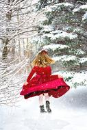 Christmas Little Girl Red Dress snow
