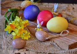 Easter Eggs and flowers yellow