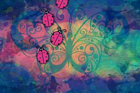 background colorful bugs pink drawing