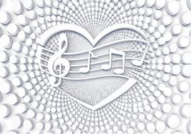 music notes in heart shape as background