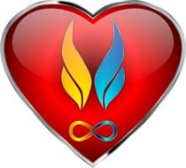 twin flames above infinity symbol in heart shape