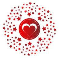 monogram heart stars red