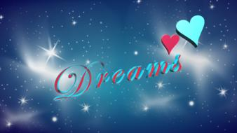 dream text word hearts