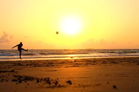 Playful Person Soccer sunset