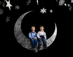 decoration moon Two Boys