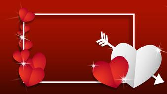 background frame border hearts red and white