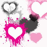 hearts splatter paint colors drawing