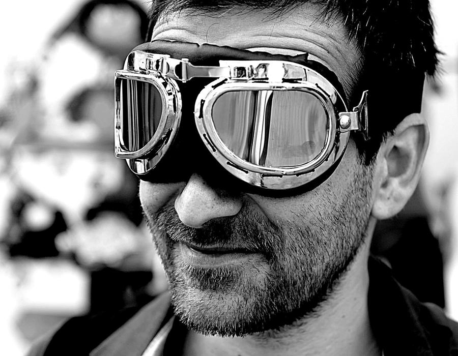 portrait of a man in mirrored sunglasses