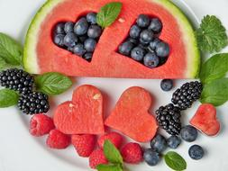 juicy watermelon and ripe berries on a plate