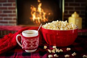Warm And Cozy, Popcorn and Coffee in front of fire
