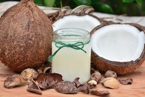 coconut and coconut milk in a bottle