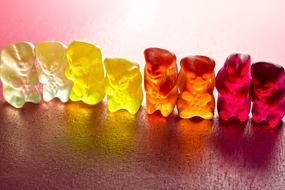 multi-colored chewing bears stand in a row