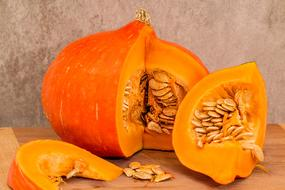 cut pumpkin with large seeds