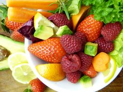 fruits with avocado and lemon
