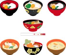 japanese cuisine, soup with noodles, miso, drawing