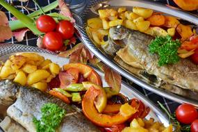 fried trout with pumpkin and potatoes