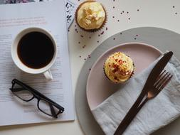 black coffee and muffins
