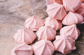 pink meringues on the table