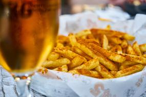 beer and French fries