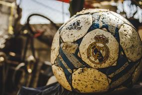 soccer ball with real madrid team logo, food