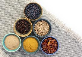 spices in bowls on the table
