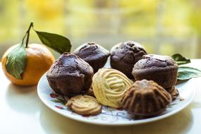 chocolate muffins and cookies on a plate and mandarin on the table
