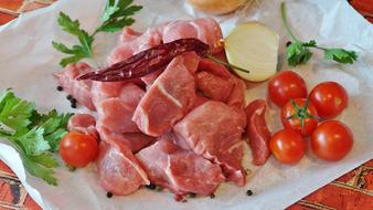 Goulash, raw Pork and vegetables