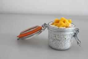 chia seeds with coconut milk