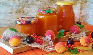 apricot jam in jars on the table