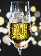 champagne in a glass on a blurred background