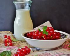 glass of milk with red currants in a white bowl on the table